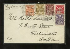 CZECH 1921 MOURNING COVER...5 COLOUR FRANKING to GB