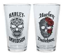 Harley-Davidson Conjunto de 2 Vasos de Cerveza Cráneo-Ideal Regalo Biker Taza Taza De Vidrio