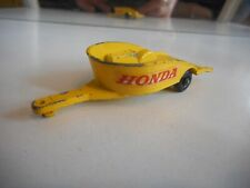Matchbox Lesney Honda Motor Cycle Trailer in Yellow
