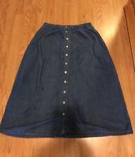 Northern Isle Petites Blue Jeans Skirt Womens Sz 10 Elastic Waist