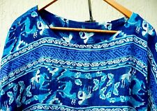 Vtg 90S L Ethnic Print Bird Elk Boho Hi Lo Animal Peasant Crop Top Blouse Women