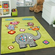 Kids Rugs Bedroom Carpet Animals Elephant Green Childrens Play Mat Playroom Mats
