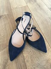 NEW JCREW SUEDE CROSS-STRAP CRYSTAL FLATS E7234 11 DARK PACIFIC NAVY CURRENT!