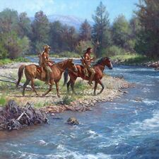 WOLVES ON ROCK CREEK - SIGNED - INDIAN PRINT - MARTIN GRELLE