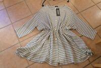 AKH Fashion Zipfel Bluse 50 52 54 EG NEU grau weiß  A-Form Baumwolle LAGENLOOK