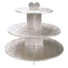 """SILVER FOIL 3 TIER CUPCAKE STAND 13"""" HIGH"""