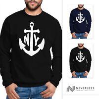 modernes Herren Sweatshirt mit Anker Druck Anchor Rundhals-Pullver Neverless®