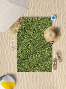 "58"" x 39"" Green Grass Design Microfibre Beach Towel Pool Sun Bathing Towel Only"