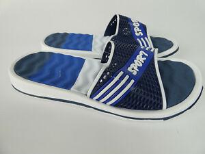 Herren Pantolette Sandalen Schlappen Flach Sommer Schuhe Classic Slides in Blau