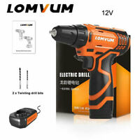 LOMVUM 2 Speed Cordless Electric Drill Screwdriver Magnetic Hammer 12V Battery