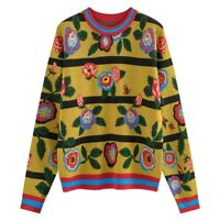 winter womens girls yellow embroidery flower wool knit sweater jumper kintwear