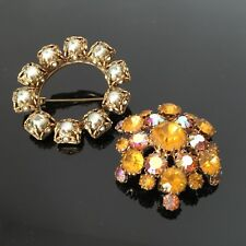 LOT 2 Broches Anciennes Strass Fausses Perles 1940 2 Vintage Brooch