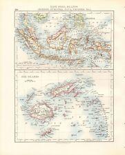 1897 ANTIQUE MAP- JOHNSTON - EAST INDIA ISLANDS,BORNEO, SUMATRA, JAVA, CELEBES