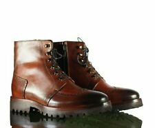 Handmade Men Brown Leather Wing Tip Lace Up Boots, Men Ankle Casual Desert Boots