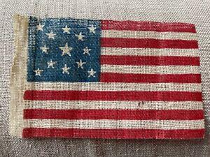 Antique 13 Star Linen Coarse Glazed Cotton American Parade Flag 2 x 3