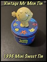 Vintage 1996 Mr Men Sweet Tin With Mr Happy Figure Attached (Supplied Empty)