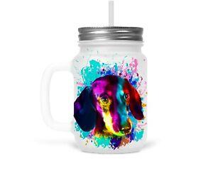Henkelglas Trinkglas Glas mit Strohhalm Deckel Dackel Dachshund Teckel Hund Dog