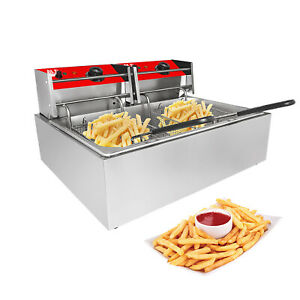Double Deep Fryer | 2-Basket Fryer for Commercial Use | Stainless Steel | 12L
