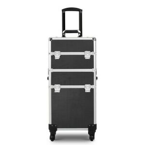 Three-in-one professional cosmetic case train case roller diamond face black