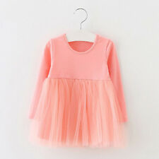 Toddler Kids Baby Girl Long Sleeve Tutu Princess Dress Tulle Party Wedding Gown