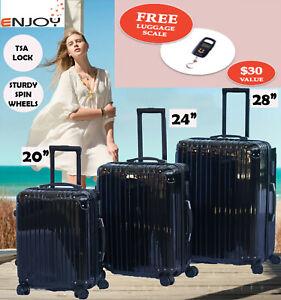 ENJOY 3 Piece Fashionable Lightweight Hardshell Suitcase/ Luggage Set- Black
