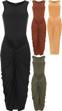 Calf Length Patternless Casual Sleeveless Dresses for Women