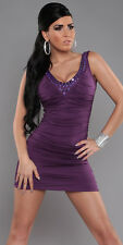 Sexy Mini Dress stretch fitted body con V plunging neckline plum ruched party SM