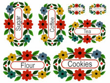 Vintage Image Retro Flowers Kitchen Spice Canister Pantry Labels Decals Ki338