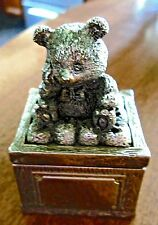 Vintage CBK LTD, LLC Silver Ring Box Blue Velvet Lining & Silver Teddy Bear Lid