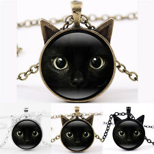 Black Cat Face Time Gemstone Necklace Cat Ear Pendant Sweater Chain Necklace WL