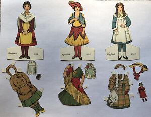 VTG Lot PAPER DOLL Russian, Spanish, English Girl BROWN'S DENTIFRICE Advertising