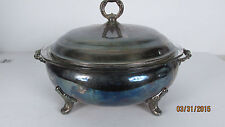 Vintage Silverplate Covered Dish With Pyrex Insert server silver pot