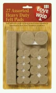 27 Assorted Heavy Duty Self Adhesive Felt Pads Wood Laminate Floor Protector