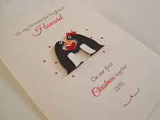 Penguin Personalised Handmade Christmas Card First Together Boyfriend/Girlfriend
