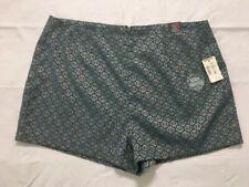 Aeropostale High Waisted Shorty Shorts Size 10 Rear Zip Blue Gold Geometric