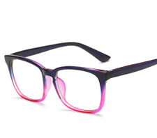 Men Women Purple Frame Full Rim Glasses Spectacles Retro Vintage Eyeglass