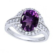 Amethyst Solitaire With Accents Band Ring 14K White Gold Over Sterling Silver
