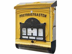 KlebeSpatz Bild Briefkasten mit Zeitungsfach XXL Premium Alter Briefkasten GELB
