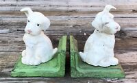 Cast Iron Pair of White Puppy Dog Vintage-Style Heavy Bookends