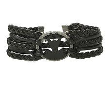 NEW 2014 Disney Maleficent Silhouette Charm Black Braid Leather Cord Bracelet
