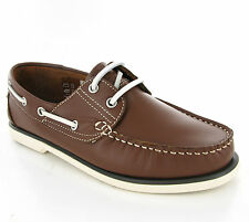 DEK Brown Leather Moccasin Boat Deck Lace Up Shoes Loafers Mens UK6-12