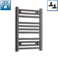 600 mm High 400 mm Wide Black Heated Towel Rail Radiator Designer Bathroom Rad
