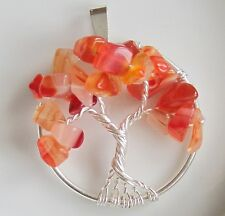 Handmade Tree of Life Necklace Pendant Carnelian Autumn Wire Wrapped Silver