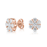 1.70 CT Round Cut Diamond 14k Rose Gold Over Flower Cluster Stud Earrings