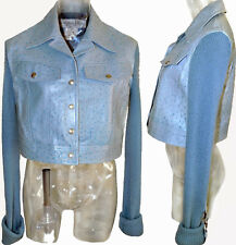 John Galliano Christian Dior Blue Leather Long Knitted Sleeves Jacket