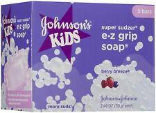 3 Bars Johnson's Kids Easy Grip Sud Soap Children kid fun bath tub BERRY BREEZE