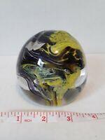 Art Glass Blown Glass Random Bubbles Paperweight Black Yellow Swirls