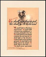 ENGLISH BULLDOG WINSTON CHURCHILL PATRIOTIC WARTIME SPEECH MOUNTED DOG PRINT