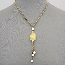 Gold Double Chain Yellow Druzy Pearl Tassels Bohemian Style Pendant Necklace