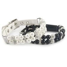 Dog Leather Pearl Collar Diamond Pet Necklace Pet Products Cat Collar Adjustable